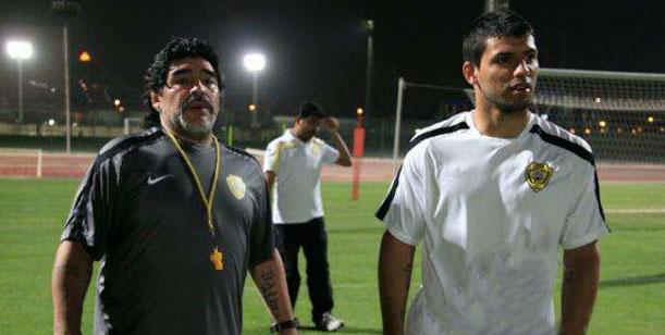 Maradona y su yerno, Kun Agüero, en Mendoza