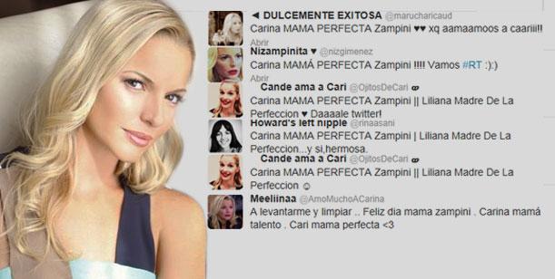 Carina Zampini es furor en la red: Su nombre fue TT en el día de la madre