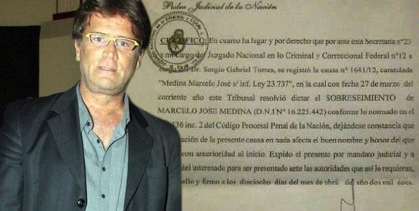 Teto Medina mostró el sobreseimiento de la denuncia en su contra