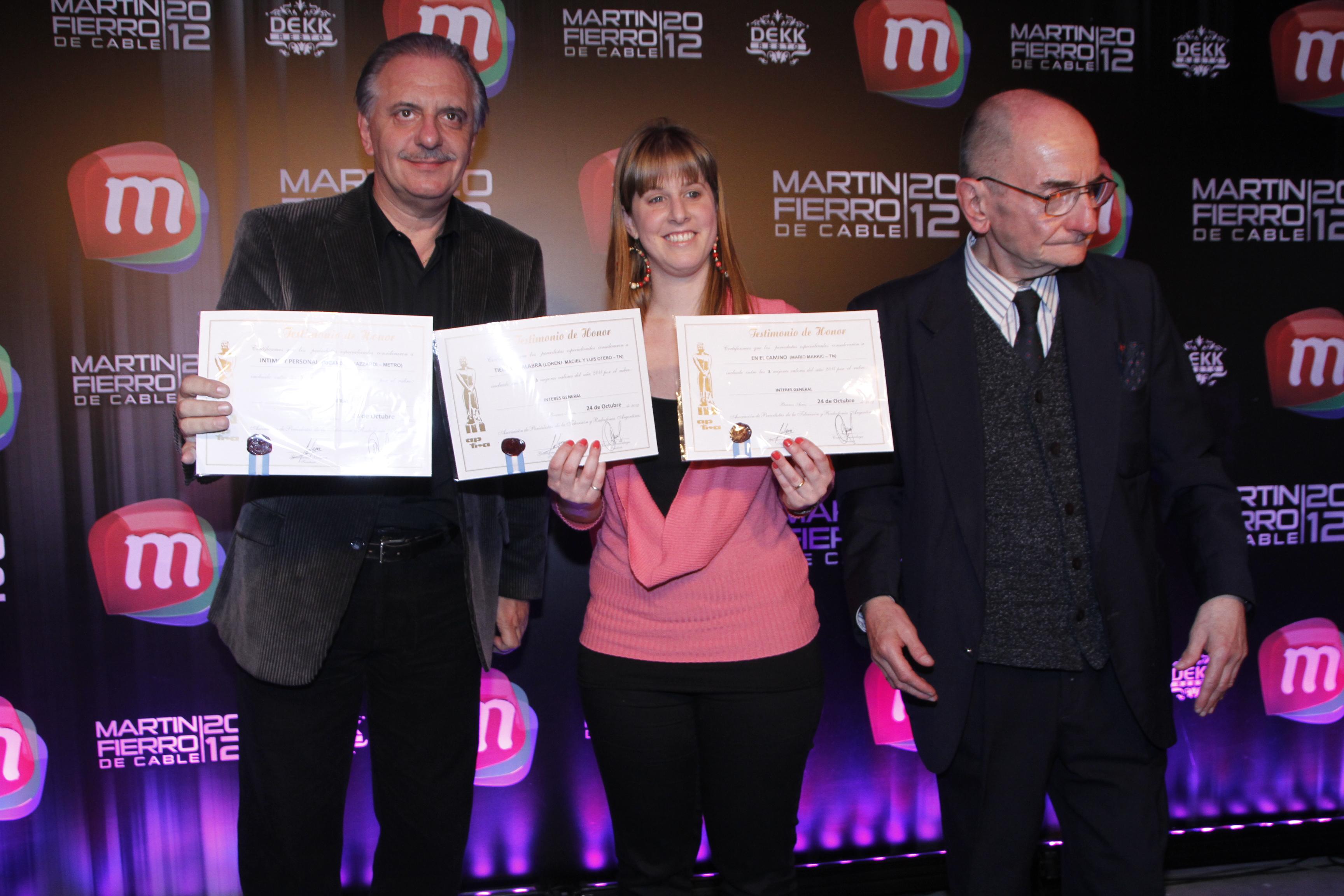 Se entregaron los diplomas del Martín Fierro del cable 2012