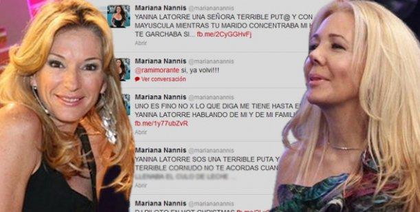 Los terribles tuits de Mariana Nannis a Yanina Latorre: Sos una terrible p...
