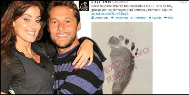 Diego Torres confirmó el nacimiento de Nina, su hija con Débora Bello