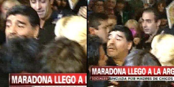 En medio de la polémica por la venta de su casa, Diego Maradona llegó al país