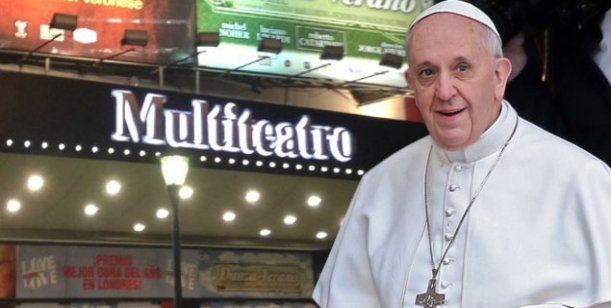 El teatro donde se representa Dios mío, se prepara para la posible visita del Papa