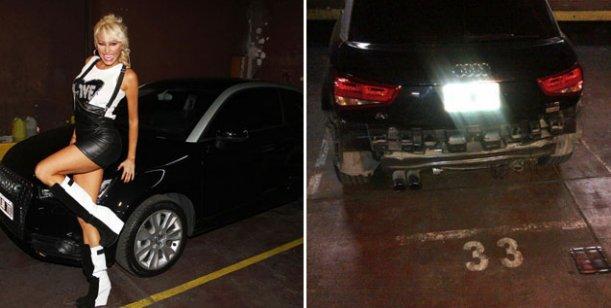 Llora la griega Xipolitakis: un bondi le arrancó parte de su auto importado