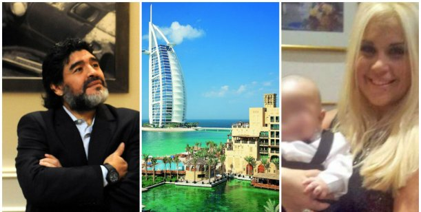 La visita sorpresa de Verónica Ojeda a Maradona en Dubai: le cayó con el nene